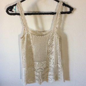 Vintage Tops - Vintage Art Deco Crochet Knit Blouse Vine Leaves